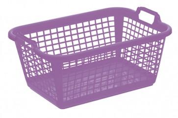 Ľahký plastový kôš na bielizeň 60l, svetlo fialový, rozmery: 70x50x30 cm
