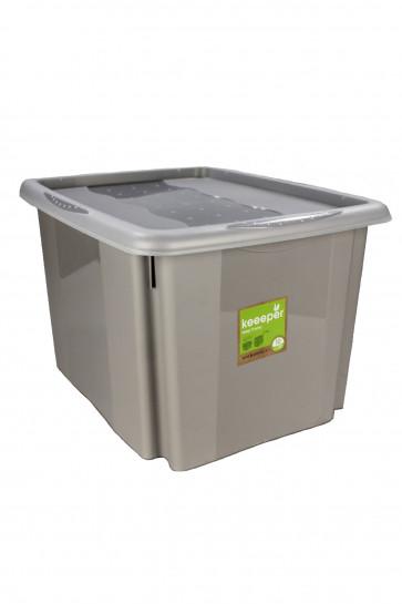 Plastový box Colours, 30 l, šedý s vrchnákom