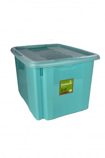 Plastový box Colours, 30 l, modrý s vrchnákom