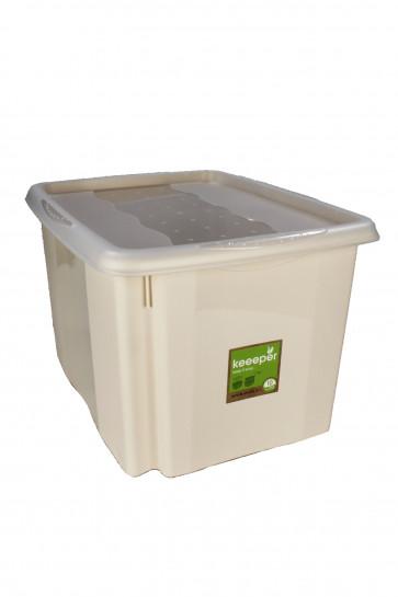 Plastový box Colours, 30 l, krémový s vrchnákom, rozmery: 45x35x27 cm