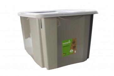 Plastový box Colours, 45 l, sivý s vrchnákom