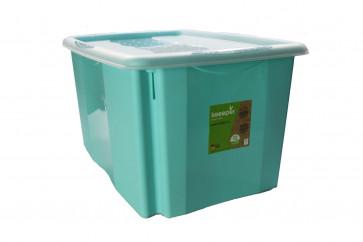 Plastový box Colours, 45l, modrý s vrchnákom, 55x39,5x29,5 cm