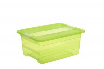 Plastový box Crystal 12 l, svieža zelený, 39,5x29,5x17,5 cm