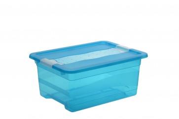 Plastový box Crystal 12 l, svieža modrý, 39,5x29,5x17,5 cm - POSLEDNÝCH 11 KS