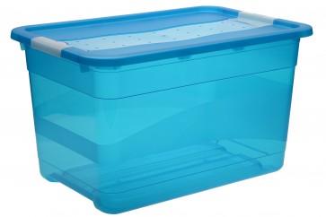 Plastový box Crystal 52 l, svieža modrý, 59,5x39,5x34 cm - POSLEDNÝCH 6 KS