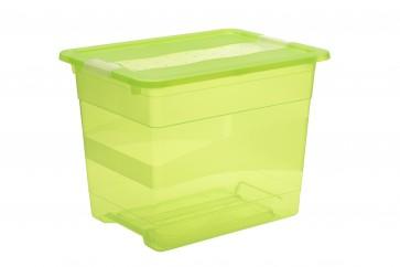 Plastový box Crystal 24 l, svieža zelený, 39,5x29,5x30 cm