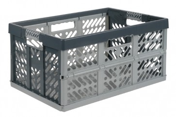 Plastový skladací box, veľký, sivý, 54x37x28 cm
