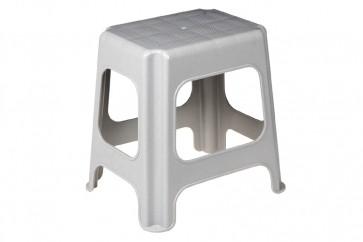 Plastový taburet maxi, sivý, 41x33,5x42,5 cm