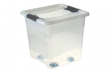 Plastový box Crystal 30 l, priehľadný, na kolieskach, 38x36x37 cm - POSLEDNÉ 2 KS