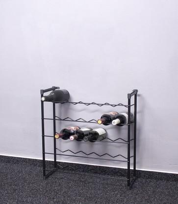 Stojan na víno Klasik, 30 fliaš, čierný, 60x58x23 cm