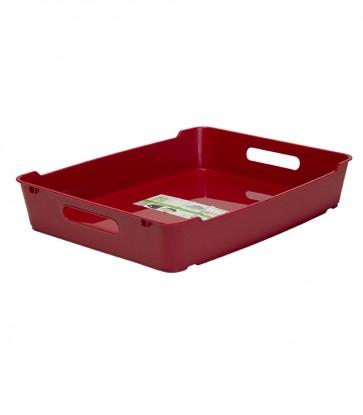 Plastový box LOFT A4, tmavo červený, 37x28,5x6,5 cm.