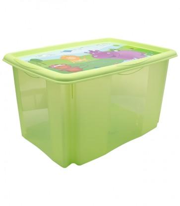 Plastový box Hippo, 45l, zelený s vekom, 55 x 39,5x29,5 cm