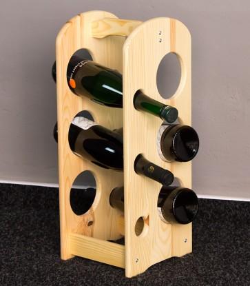 Stojan na víno, na 6 fliaš, Natur lak