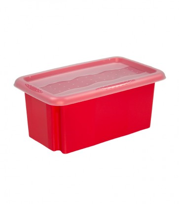Plastový box Colours, 7l, červený s vrchnákom, 35x20,5x15,5 cm