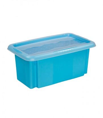 Plastový box Colours, 7l, modrý s vrchnákom, 35x20,5x15,5 cm POSLEDNÉ 3 KS