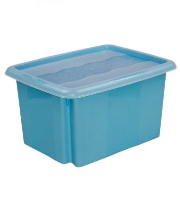 Plastový box Colours, 15l, modrý s vrchnákom, 38x28,5x21 cm POSLEDNÝCH 23 KS