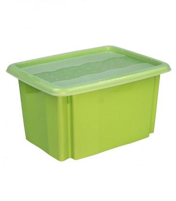 Plastový box Colours, 15l, zelený s vrchnákom, 38x28,5x21 cm POSLEDNÝCH 10 KS