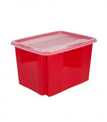 Plastový box Colours, 30l, červený s vrchnákom, 45x35x27 cm - POSLEDNÝCH 7 KS