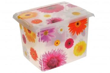 "Plastový box Fashion, ""Pink Flowers"", 39x29x27 cm - POSLEDNÝ KUS"