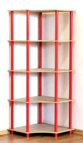 Regál rohový kombinovaný Dedal, 5 políc, 144x55x55 cm