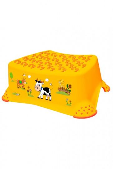 Detský taburet vo svetle oranžovej farbe s motívom Funny Farm - 40x28x14 cm - POSLEDNÝCH 11 KS
