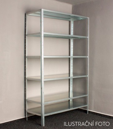 Kovový regál Idea, 8 políc, 300x80x30 cm, 100 kg