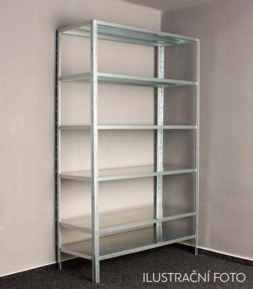 Kovový regál Idea, 8 polic, 300x120x30 cm, 80 kg
