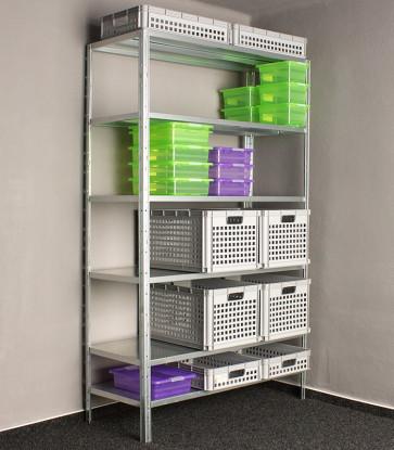 Kovový regál Idea, 9 políc, 300x80x60 cm, 150kg