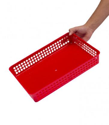 Plastový košík, A4, červený, 36,5x24,5x6 cm - POSLEDNÉ 2 KS