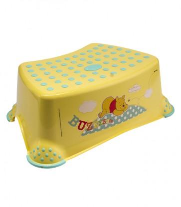 Detský taburet v žlto medovej farbe s motívom Medvedíka Pú - 40x28x14 cm - POSLEDNÝCH 8 KS