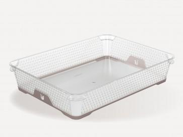 Plastový košík Jonas s protišmykovým dnom, A4, sivý, 36x26,5x7 cm
