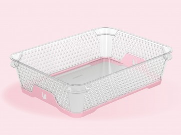 Plastový košík Jonas s protišmykovým dnom, A5, ružový, 26,5x20x7 cm