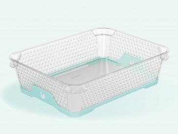 Plastový košík Jonas s protišmykovým dnom, A5, modrý, 26,5x20x7 cm