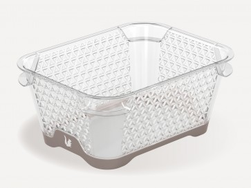 Plastový košík Jonas s protišmykovým dnom, A7, sivý, 16x12x7 cm