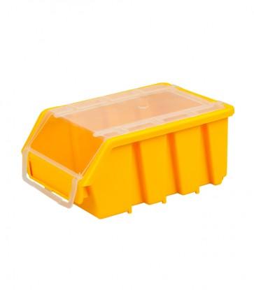 Box na drobný materiál s vekom, malý, žltý, 16x11,6x7,5 cm - POSLEDNÉ 3 KS