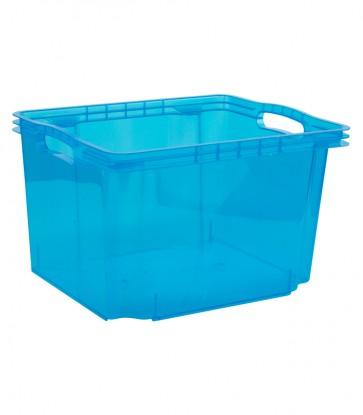 Plastový box Multi M, svieža modrý, bez veka, 35x27x21 cm