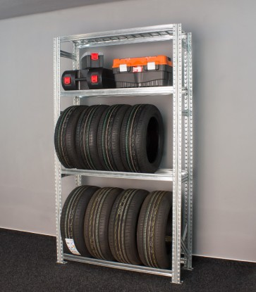 Regál na 8 pneumatík + 2 plné police
