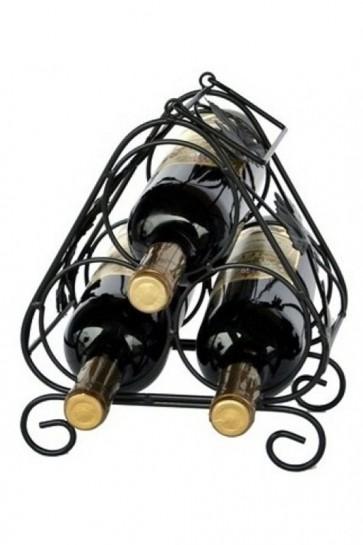Kovový stojan na 3 fľaše, čierny, 25,5 x 21,5 x 16 cm