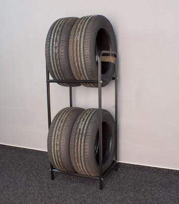 Regál na pneumatiky, čierny, 4 ks pneumatík 44 x 44 x 108 cm