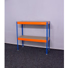 Kovový regál Galaxy, 2 police, 96x120x50 cm, 250 kg, modro oranžový
