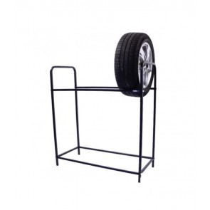 Regál na pneumatiky, čierny, 8 ks pneumatík