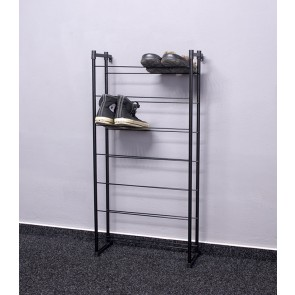 Kovový botník Praktik, čierny, 92x46x21 cm, 14 párov topánok