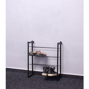 Kovový botník Praktik, čierny, 55x46x21 cm, 8 párov topánok