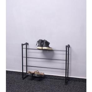 Kovový botník Praktik, čierný, 53x66x21 cm, 12 párov topánek