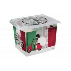 """Plastový box Fashion, """"ITALY"""", 39x29x27cm POSLEDNÉ 2 KS"""