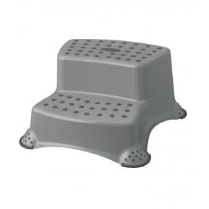 Plastové schodíky DELUXE, sivé, 40x37x21 cm