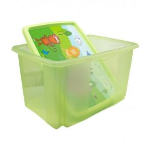 Plastový box Hippo, 45l, zelený s vekom, 55 x 39,5x29,5 cm - POSLEDNÝCH 5 KS