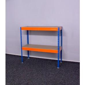 Kovový regál Galaxy, 2 police, 96x100x60 cm, 250 kg, modro oranžový