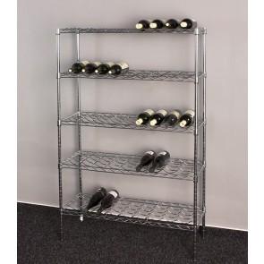 Chrómovaný stojan na víno Deluxe, 45 fliaš, 140x90x35 cm