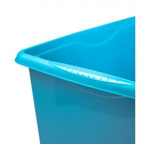 Plastový box Colours, 24l, modrý s vrchnákom, 41x31x22 cm